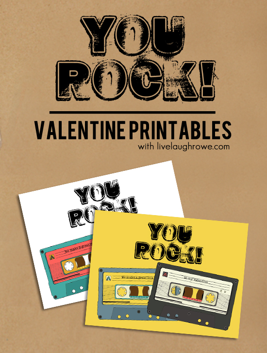 You Rock Printable Vintage Cassette Valentines with livelaughrowe.com