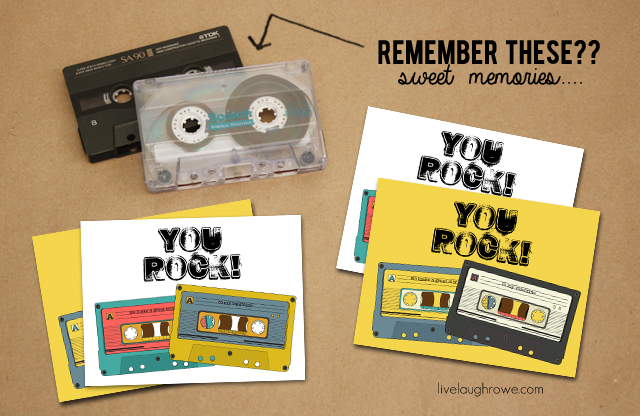 You Rock Cassette Tape Valentine Printables with livelaughrowe.com