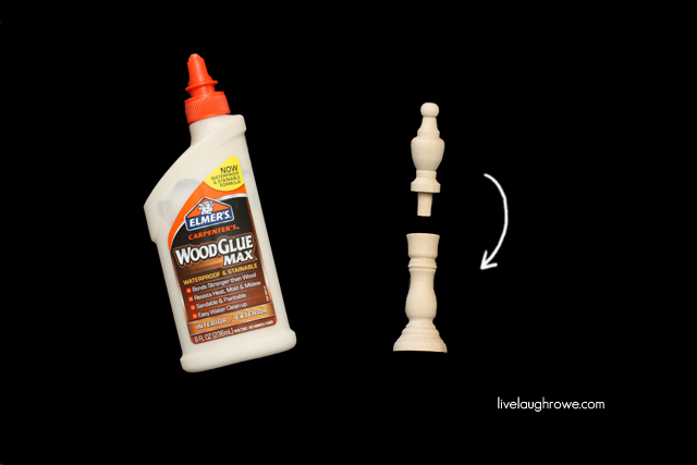 glue finial into the candlestick