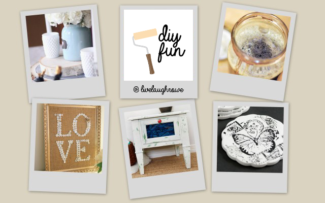 DIY Fun with livelaughrowe.com.  Featuring a tablscape, burlap art and more