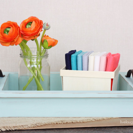 From shadow box to fabulousness! DIY Decorative Tray with leather handles with livelaughrowe.com