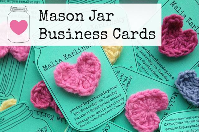 Mason Jar Business Cards via Yesterday on a Tuesday