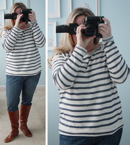 Striped Lace Sweatshirt for What I Wore Wednesday with livelaughrowe.com