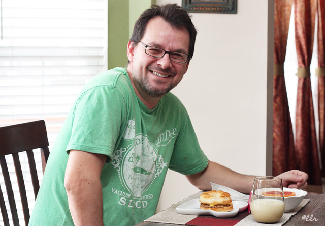 The hubs enjoying a breakfast served with love! A quick, easy, and delicious way to start his day with a Jimmy Dean Redbox breakfast sandwich