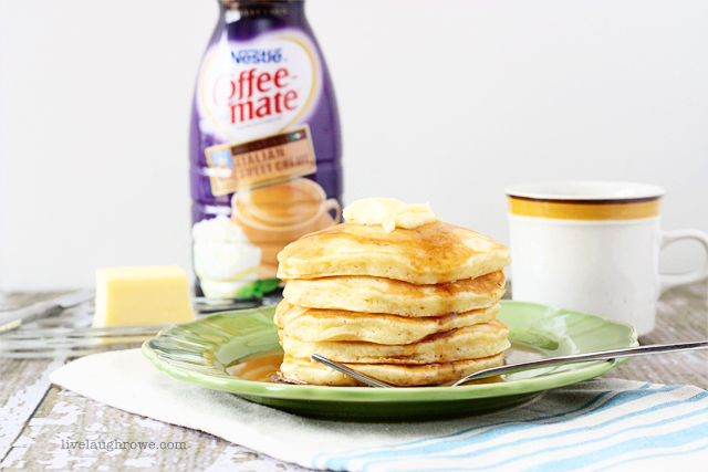 Baking with Coffee-mate Creamer.  Homemade Italian Sweet Creme Pancakes with livelaughrowe.com