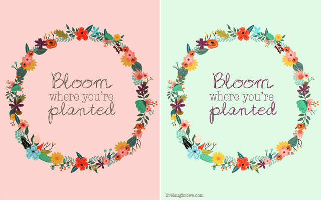 Bloom Where You Are Planted Printables with livelaughrowe.com