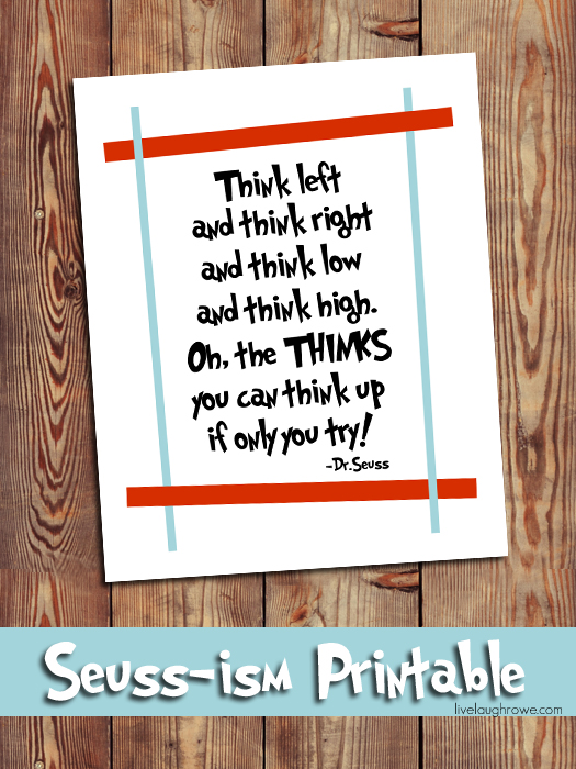 Dr. Seuss Prinatable | On Going Places with livelaughrowe.com