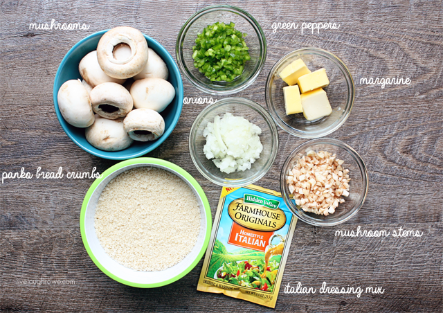 Ingredients to whip up your own batch of Italian Stuffed Mushrooms