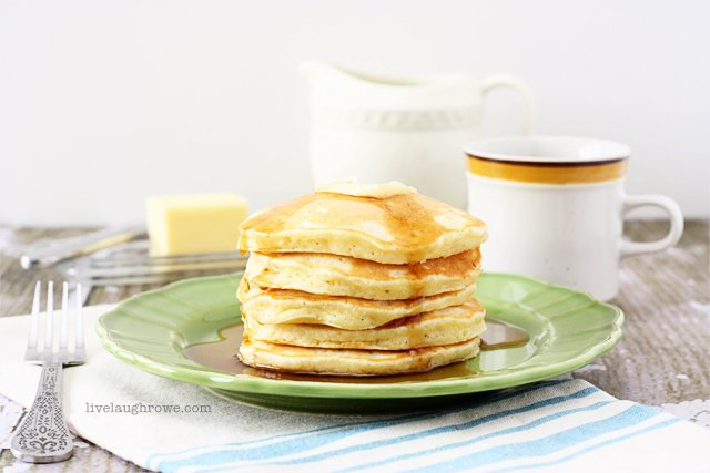 Moist and fluffy Homemade Italian Sweet Crème Pancakes with livelaughrowe.com