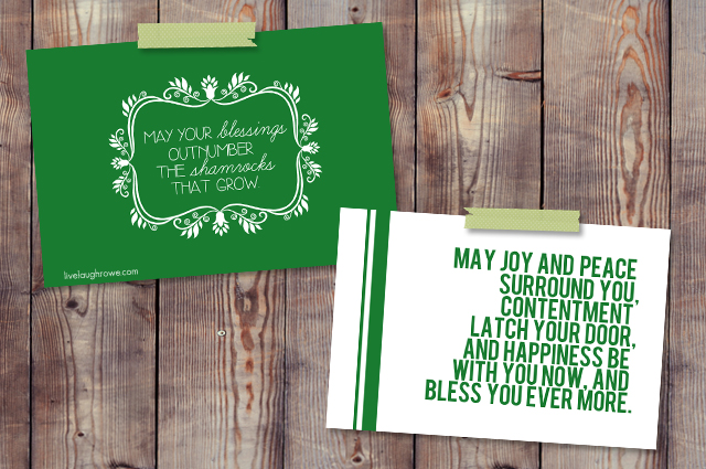 Lovely Irish Blessing Printables for St. Patrick's Day at liveluaghrowe.com
