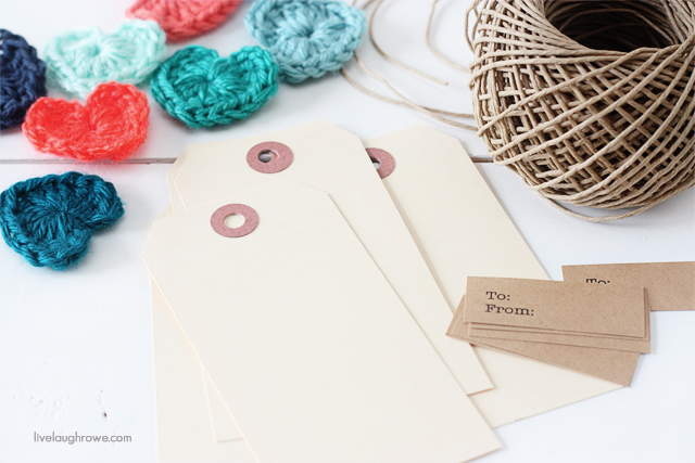 pulling together supplies for adorable crochet heart gift tags
