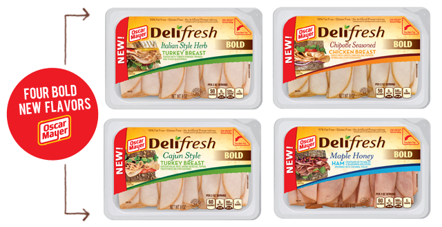Four New Oscar Meyer Deli Fresh Bold Lunch Meats