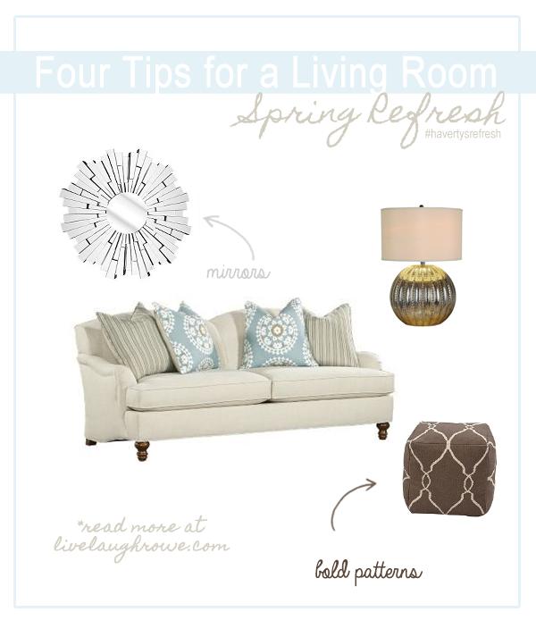 Four Tips for a Living Room Spring Refresh at livelaughrowe.com