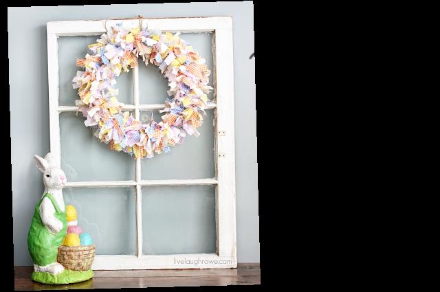 Scrap Fabric Spring Wreath with livelaughrowe.com
