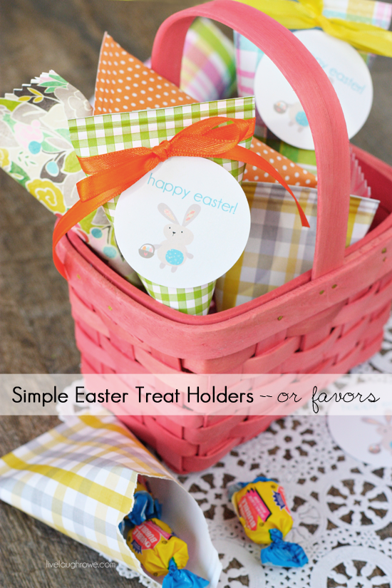 Simple Easter Treat Holders or Favors with live laugh rowe