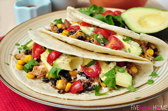 Slow Cooker Chicken and Black Bean Tacos by Five Heart Home