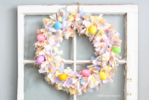 Scrap Fabric Easter Wreath