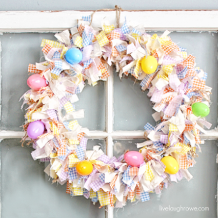 Such a lovely Scrap Fabric Easter Wreath with livelaughrowe.com