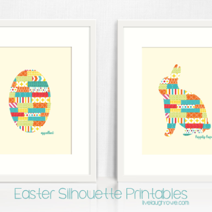 Two Easter Silhouette Printabls.  Cute rabbit or egg with livelaughrowe.com