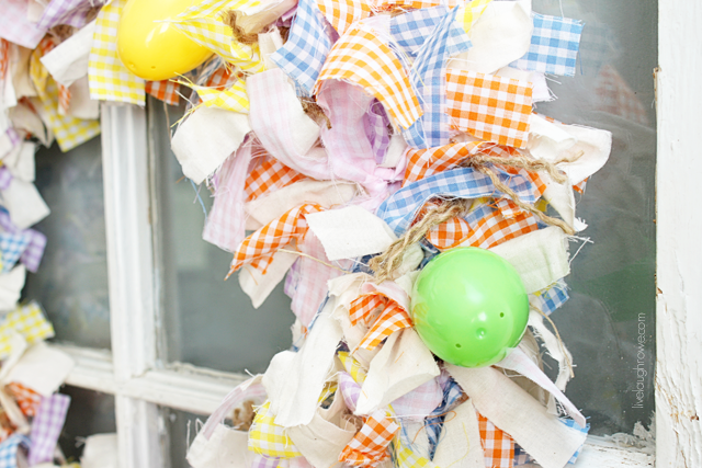 a closer look. scrap fabric easter wreath with livelaughrowe.com