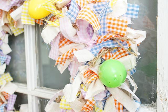 a closer look. scrap fabric easter wreath with livelaughrowe.com