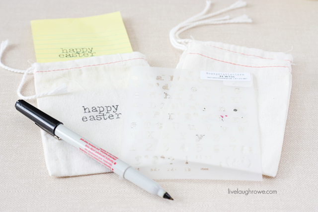 diy happy easter muslin treat bags