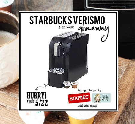 Awesome giveaway! Enter to win a Starbucks Verismo 580 at livelaughrowe.com