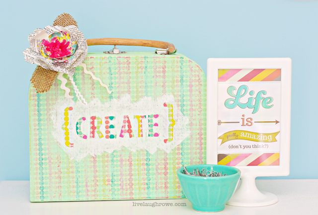 Decorative Paper Mache Suitcase with live laugh rowe