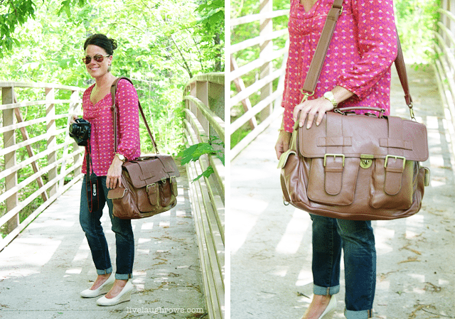 Kristine sporting Brown London Backpack from Epiphanie Bags