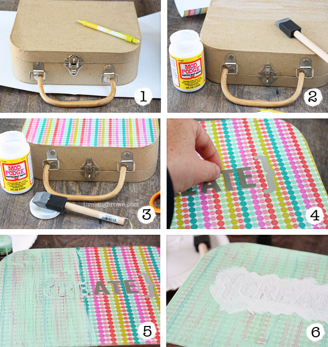 Step by Step transforming the Paper Mache Suitcase with Hazel and Ruby