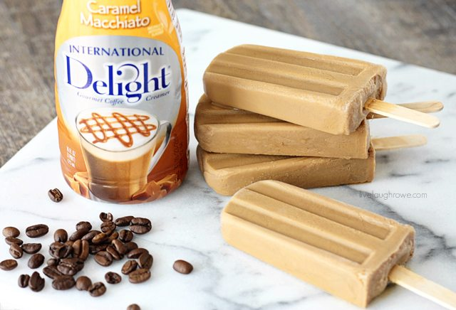 Frozen Coffee Treat using International Delight Creamer! Caramal Macchiato Popsicles with livelaughrowe.com