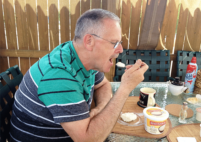 Dad enjoying his Kozy Shack Rice Pudding