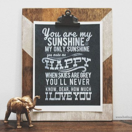 You Are My Sunshine Free Printable