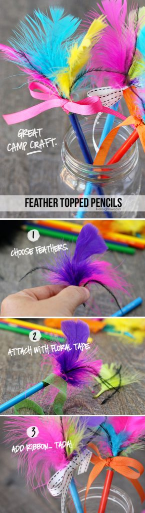 Camp craft feather topped pencils live laugh rowe for Where can i buy feathers for crafts