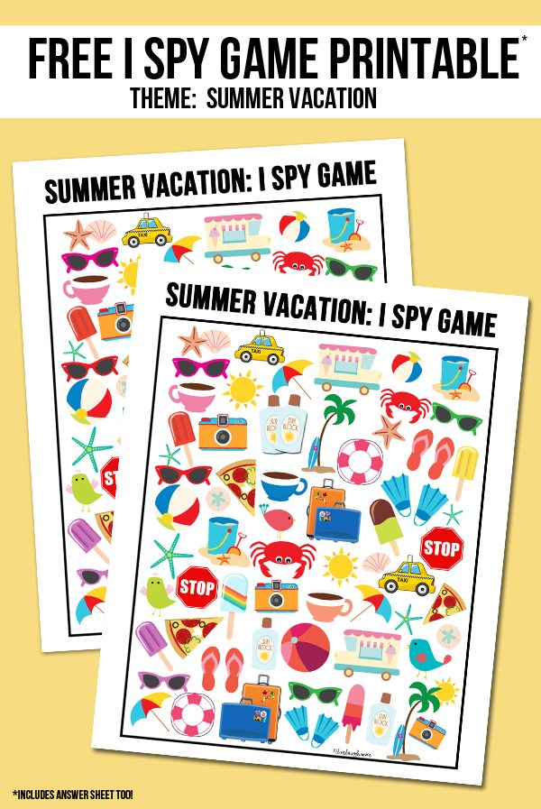 picture relating to I Spy Printable named Summer season Family vacation I Spy Printable - Reside Chuckle Rowe