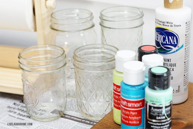 Jars and Paint for the Mason Jar Painting Party!