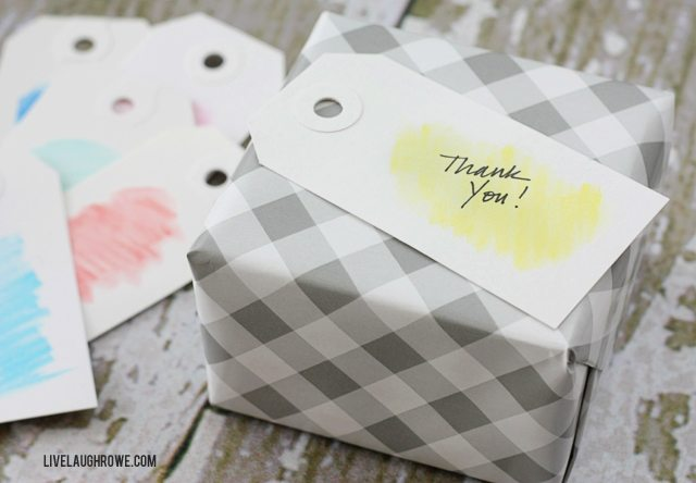 Fabulous and Simple Watercolor Gift Tags using Watercolor Pencils! Keeps the messes to a minimum too. Tutorial at livelaughrowe.com