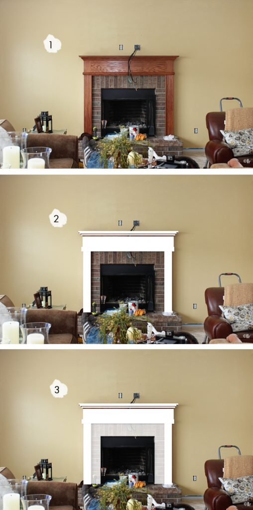 Decisions.  Decisions.  Our Mantel Dilemma is deciding if we leave it as is, paint the oak mantel white OR paint the oak mantel and the brick.  Weigh in with you opinion at livelaughrowe.com