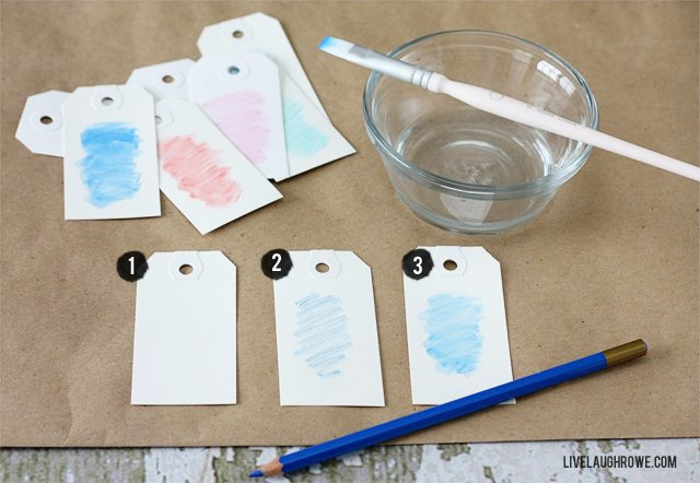Simple Watercolor Gift Tags using Watercolor Pencils! Three easy steps! Tutorial at livelaughrowe.com