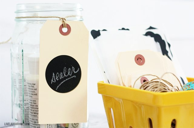 Place chalkboard tags on shipping tags for variety! They make great gift tags too....