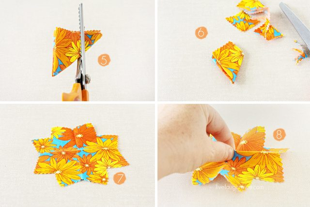 Assembling the fabric flowers