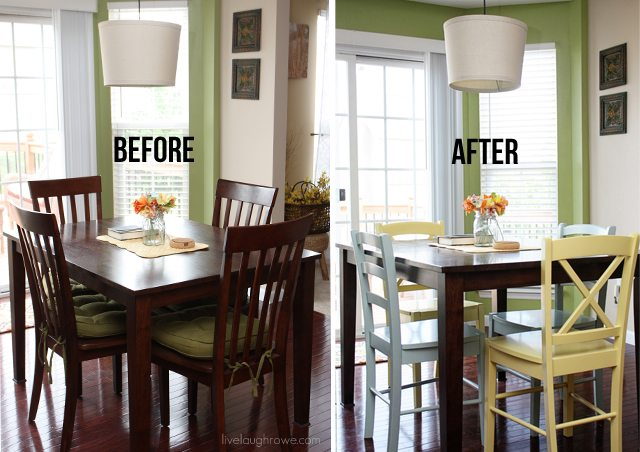 Before and After of the Breakfast Room with new chairs from the Original Cottage Collection by Sauder