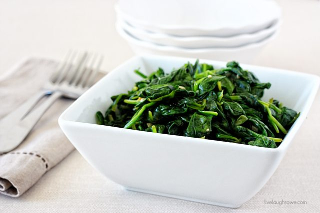 Delectable Garlic Sauteed Spinach. One of my favorite side dishes! Recipe at livelaughrowe.com