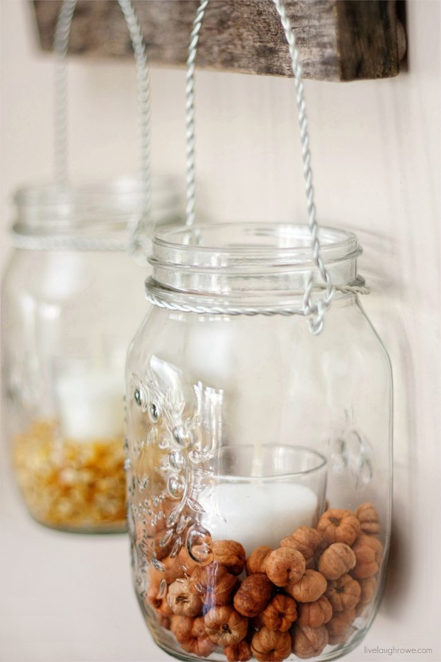 Pottery Barn Hack. Fall Decor using Hanging Mason Jars -- see the price comparisons too! More at livelaughrowe.com