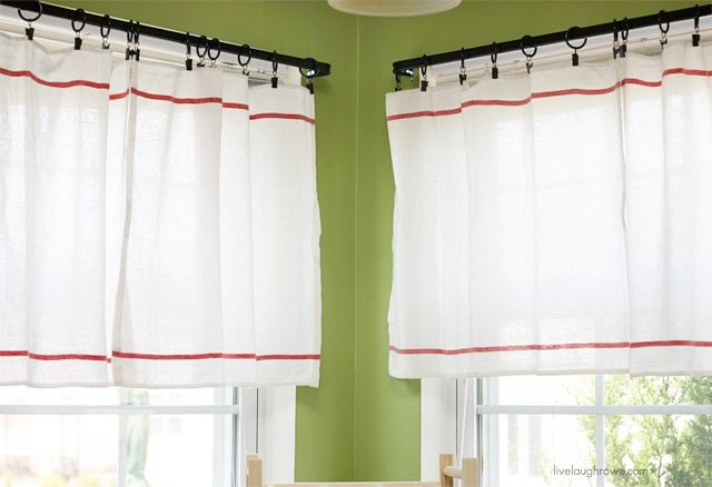 Inexpensive DIY Window Treatment using IKEA dish towels. More at livelaughrowe.com #diy
