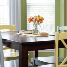 Love how these colorful cottage style chairs brighten up our breakfast room!