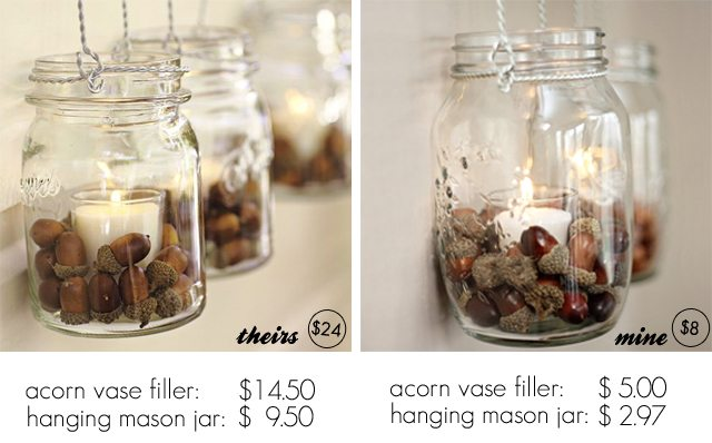 Pottery Barn Hack. Fall Decor using Hanging Mason Jars -- see the price comparisons too!