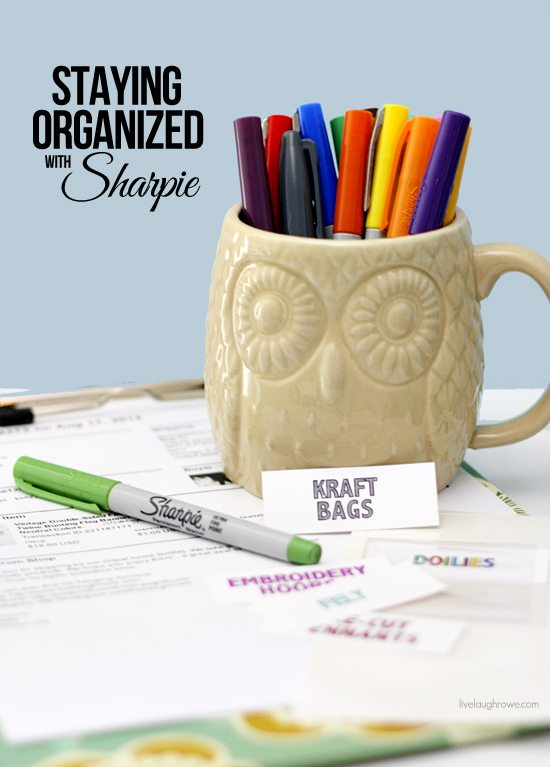 Staying organized with Sharpie as I attempt to organize some of my shipping and craft supplies with sharpie markers, storage containers and binder labels!! More details at livelaughrowe.com