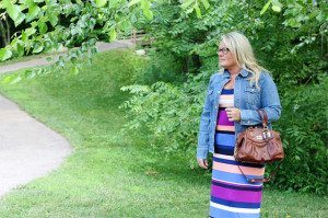 Striped Maxi and Thrifted Denim Jacket | WIWW