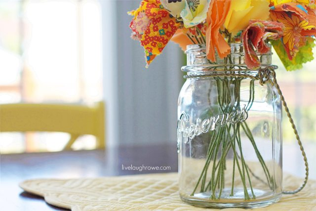 Using green floral stems allows the flower stems to look more life like! The fabric flowers display lovely.